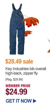 $28.49 sale - Key Industries bib overall high-back, zipper fly - MEMBER PRICE $24.99 | GET IT NOW