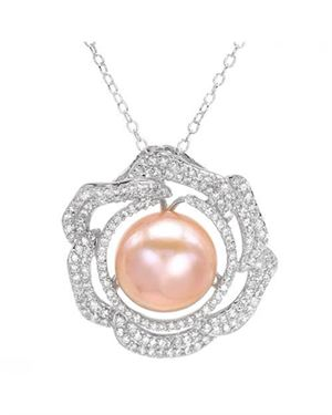 Sterling Silver Necklace with 3.75 CTW Pearl , Cubic Zirconias. Total item weight 6.8g