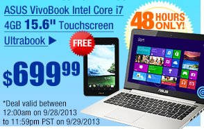 "ASUS VivoBook Intel Core i7 4GB 15.6"" Touchscreen Ultrabook"