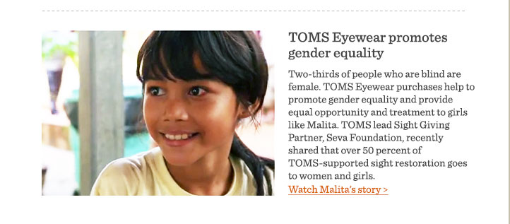 TOMS Eyewear promotes gender equality - read Malita's story