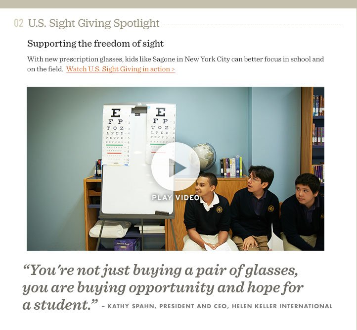 Support the freedom of sight - watch U.S. Sight Giving in action