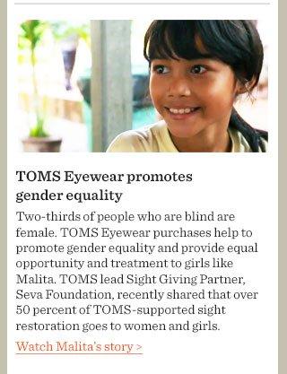 TOMS Eyewear promotes gender equality