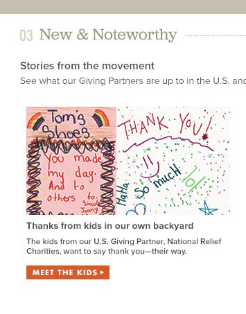The kids from our U.S. Giving Partner, National Relief Charities, want to say thank you