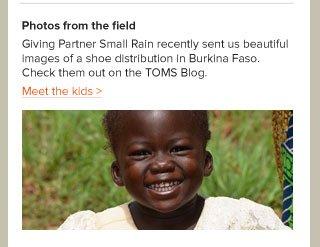 Giving Partner Small rain sent photos of a shoe distribution in Burkina Faso