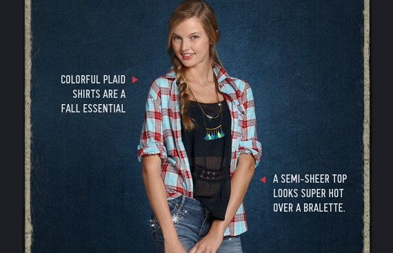 COLORFUL PLAID SHIRTS ARE A FALL ESSENTIAL » A SEMI–SHEER TOP LOOKS SUPER HOT OVER A BRALETTE.