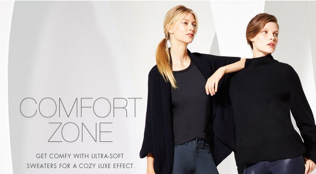 Comfort Zone | Get comfy with ultra-soft sweaters for a cozy luxe effect.