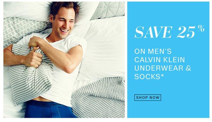 Save 25% on men's calvin klein underwear & socks*. Shop now