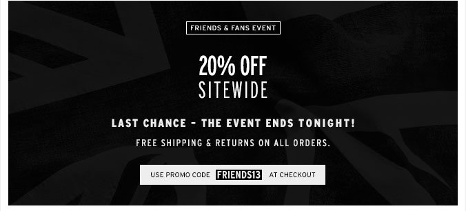 Ends Today - 20% Off Sitewide