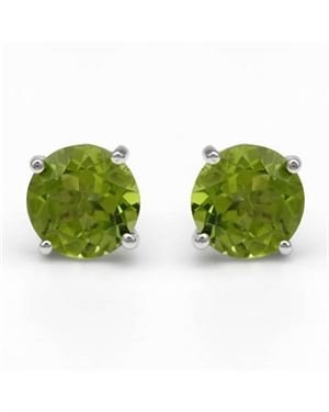 Sterling Silver Earrings with 3.40 CTW Peridots. Total item weight 2.1g