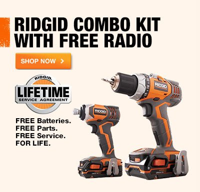 RIDGID 18-Volt X4 Hyper Lithium-Ion Cordless Drill and Impact Driver Combo Kit (3-Tool) with Radio.