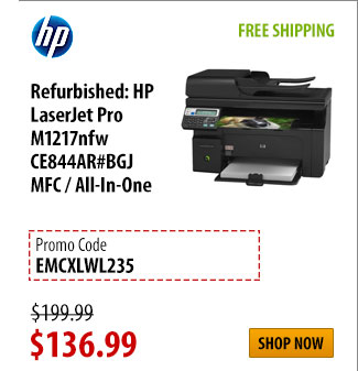 Refurbished: HP LaserJet Pro M1217nfw CE844AR#BGJ MFC / All-In-One, FREE SHIPPING, was $199.99 - Now $136.99 w/ PROM CODE: EMCXLWL235, Shop Now