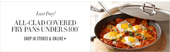 Last Day! - ALL-CLAD COVERED FRY PANS UNDER $100* - SHOP IN STORES & ONLINE