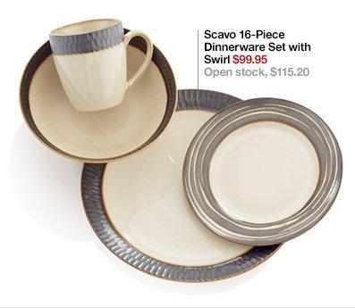 Scavo 16-Piece Dinnerware Set with Swirl  $99.95 Open stock, $115.20
