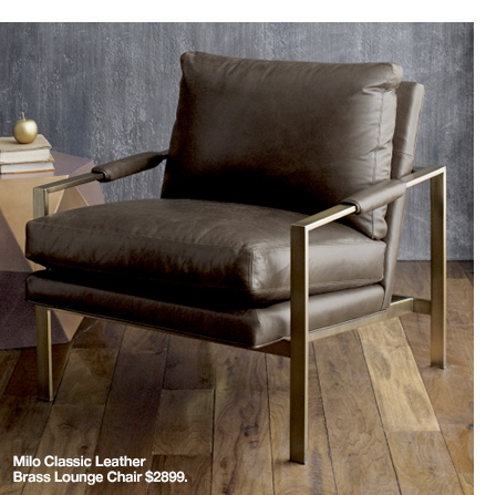 Milo Classic Leather Brass Lounge Chair  $2899.