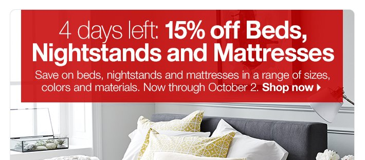 15% off Beds, Nightstands and Mattresses
