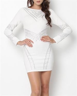 La Cite Studded Long Sleeve Body Con Dress