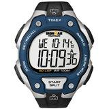 Timex T5K496 Men's Ironman 50-Lap Black Strap Blue Bezel Silver Resin Case Chronograph Watch