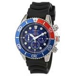 Seiko SSC031 Men's Solar Chronograph Blue Dial Rubber Strap Steel Dive Watch