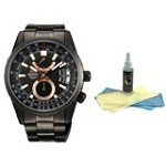 Orient DH01001B Men's Voyager Black Ion Plated Automatic Power Reserve Black Dial Watch with 30ml Ultimate Watch Cleaning Kit