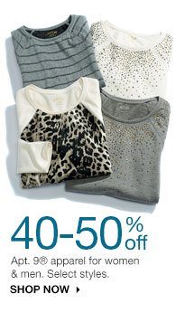 40-50% off Apt. 9 apparel for women & men. Select styles. shop now