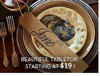 BEAUTIFUL TABLETOP, STARTING AT $19