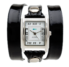 Customized Watch - Black Patent Silver Square