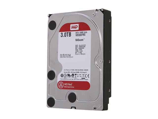 Western Digital Red NAS Hard Drive WD30EFRX 3TB IntelliPower 64MB Cache SATA 6.0Gb/s 3.5 inch Internal Hard Drive