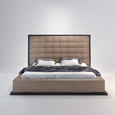 Ludlow Bed in Wenge // Taupe
