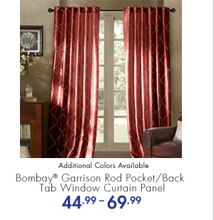 Bombay(R) Garrison Rod Pocket/Back Tab Window Curtain Panel 44.99-69.99 Additional Colors Available
