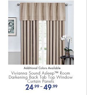 Vivianna Sound Asleep(TM) Room Darkening Back Tab Top Window Curtain Panels 24.99-49.99 Additional Colors Available