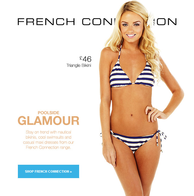 French Connection Blue Striped Triangle Bikini