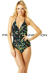 French Connection Blue Dragonfly Print Swimsuit