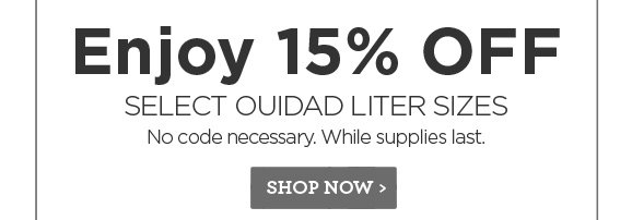 Enjoy 15% off select Ouidad liter sizes. No code necessary. While supplies last.