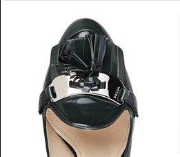 Prada Metal Plate & Tassel Detail Solid Color Heels