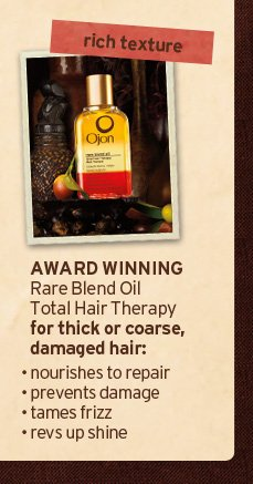 rich texture AWARD WINNING Rare Blend Oil Total Hair Therapy for thick or coarse damaged hair nourishes to repair prevents damage tames frizz revs up shine