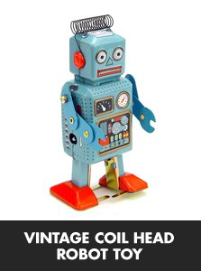 Vintage Coil Head Robot Toy