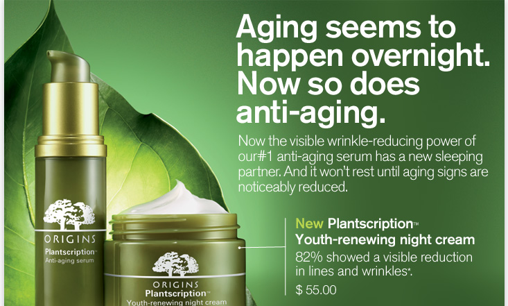 Aging seems to happen overnight Now so does anti aging Now the visible wrinkle reducing power of our number 1 anti aging serum has a new sleeping partner And it will not rest until aging signs are noticeably reduced New Plantscription Youth renewing night cream 82 percent showed a visible reduction in lines and wrinkles 55 dollars