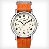 Timex T2N745 Men's Weekender White Dial Orange Slip Thru Nylon Strap Stainless Steel Watch