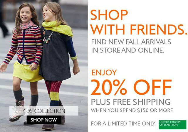 SHOP WITH FRIENDS. Save 20% off your purchase of $150 or more, plus FREE SHIPPING