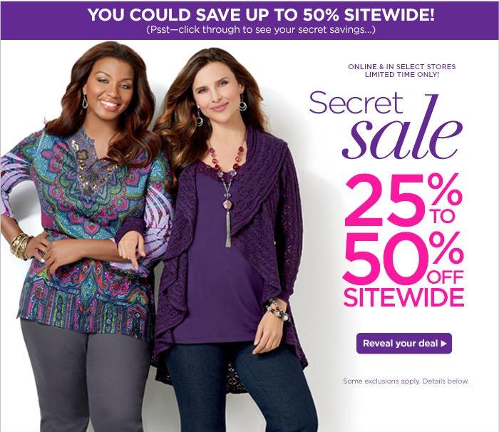 Secret Sale 25% to 50%