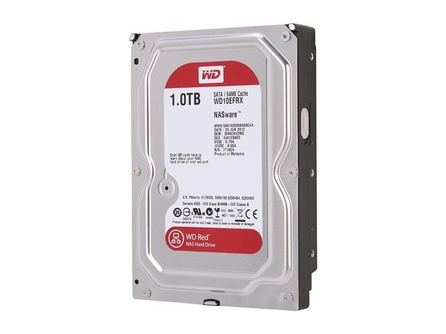 Western Digital Red NAS Hard Drive WD10EFRX 1TB IntelliPower 64MB Cache SATA 6.0Gb/s 3.5 inch Internal Hard Drive