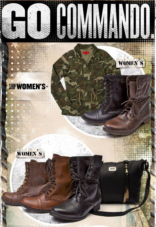 Go Commando in Womens Combat Boots.