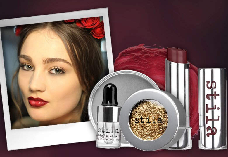 delight in the decadence of fall's moody palettes with gold leaf eyes and a vampy pout