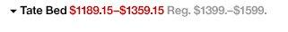 Tate Bed $1189.15-$1359.15 Reg.  $1399.-$1599.