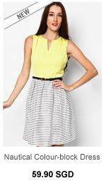 INNER CIRCLE Nautical Colour-block Dress