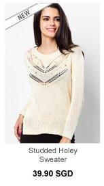 SOMETHING BORROWED Studded Holey Sweater