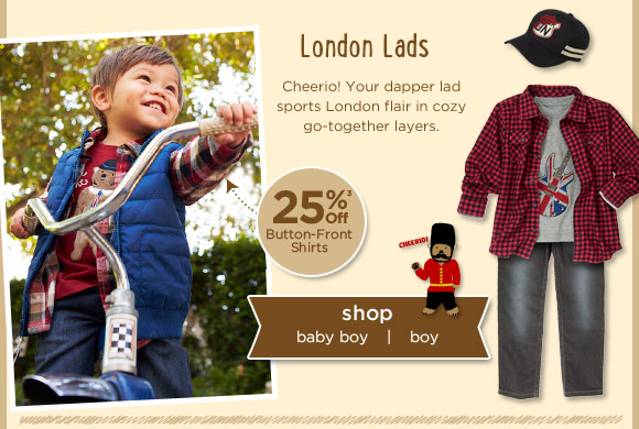 London Lads. Cheerio! Your dapper lad sports London flair in cozy go-together layers.