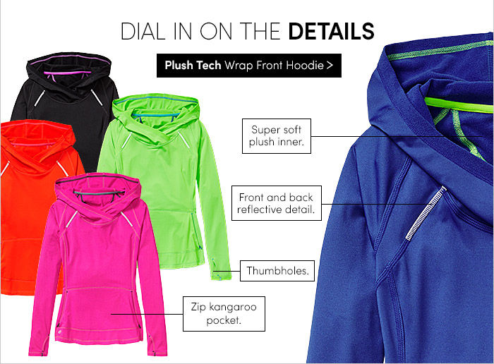 DIAL IN ON THE DETAILS | Plush Tech Wrap Front Hoodie | Super soft plush inner. | Front and back reflective detail. | Thumbholes. | Zimp Kangaroo pocket.