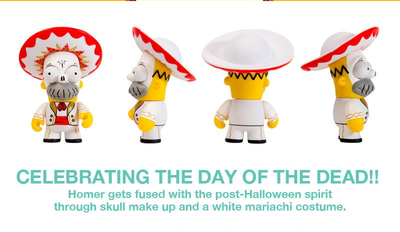 Celebrating the day of the dead!!  Homer gets fused with the post-halloween spirit through skull make up and a white mariachi costume.