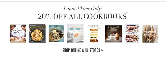 Limited Time Only! - 20% OFF ALL COOKBOOKS* - SHOP ONLINE & IN STORES